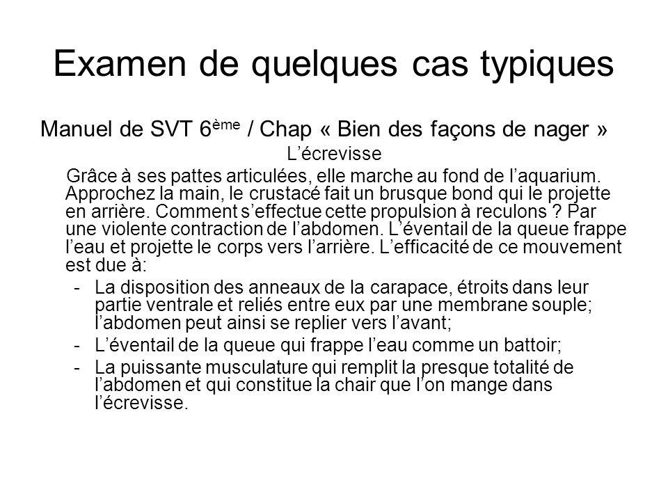 Examen de quelques cas typiques Manuel de SVT 6 ème / Chap « Bien des façons de nager » Lécrevisse Grâce à ses pattes articulées, elle marche au fond de laquarium.