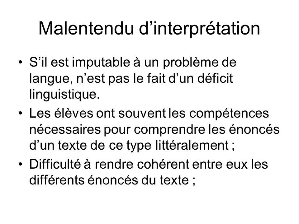Malentendu dinterprétation Sil est imputable à un problème de langue, nest pas le fait dun déficit linguistique.