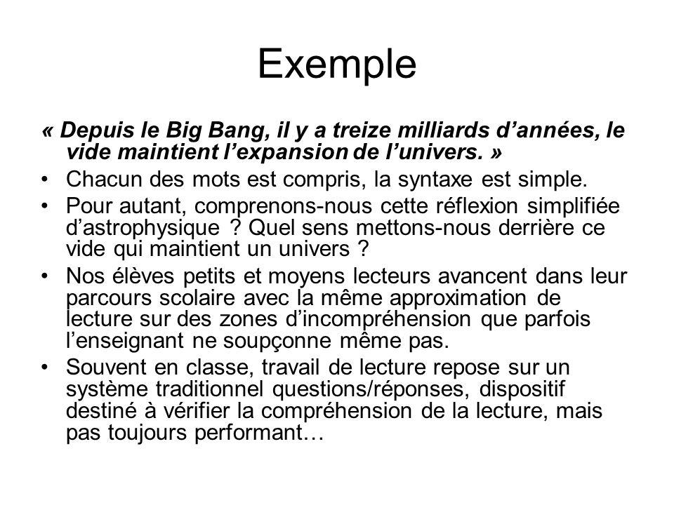 Exemple « Depuis le Big Bang, il y a treize milliards dannées, le vide maintient lexpansion de lunivers.