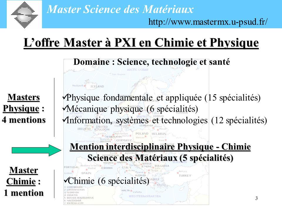3 Loffre Master à PXI en Chimie et Physique Domaine : Science, technologie et santé Masters Physique : 4 mentions Physique fondamentale et appliquée (15 spécialités) Mécanique physique (6 spécialités) Information, systèmes et technologies (12 spécialités) Mention interdisciplinaire Physique - Chimie Science des Matériaux (5 spécialités) Master Chimie : 1 mention Chimie (6 spécialités) Master Science des Matériaux http://www.mastermx.u-psud.fr/