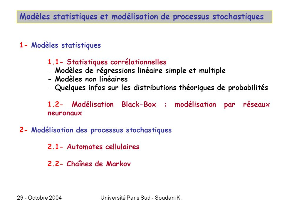 29 - Octobre 2004Université Paris Sud - Soudani K. Modèles statistiques et modélisation de processus stochastiques 1- Modèles statistiques 1.1- Statis
