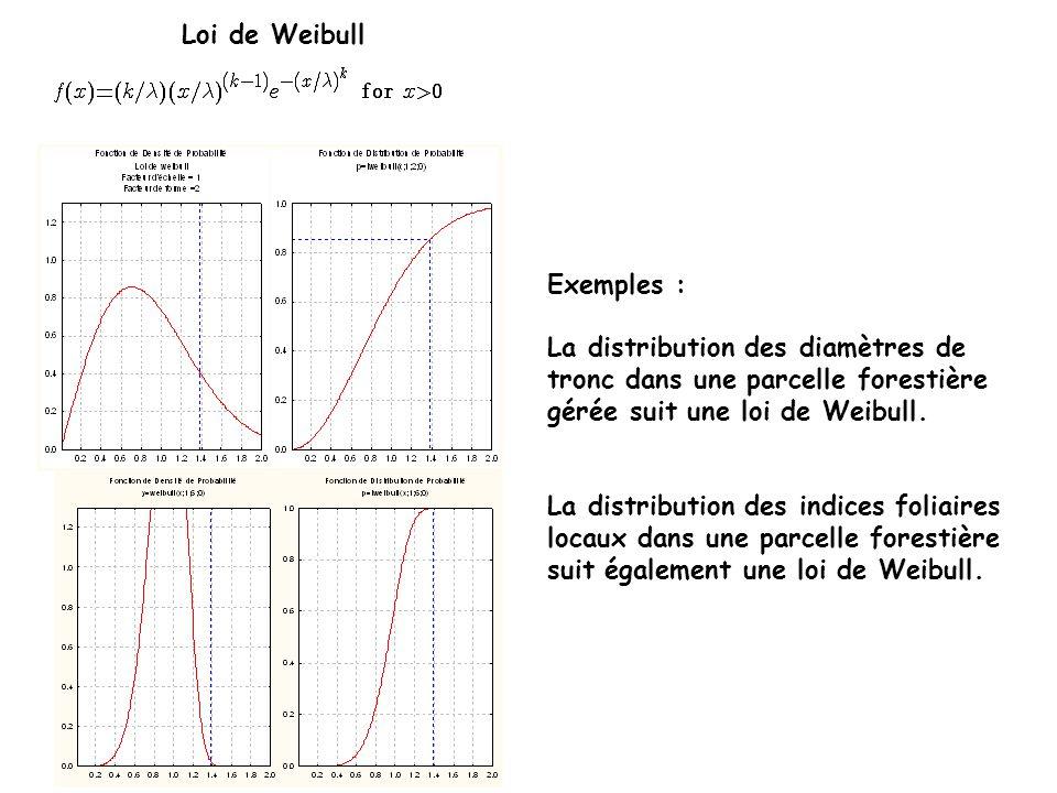 Loi de Weibull Exemples : La distribution des diamètres de tronc dans une parcelle forestière gérée suit une loi de Weibull. La distribution des indic