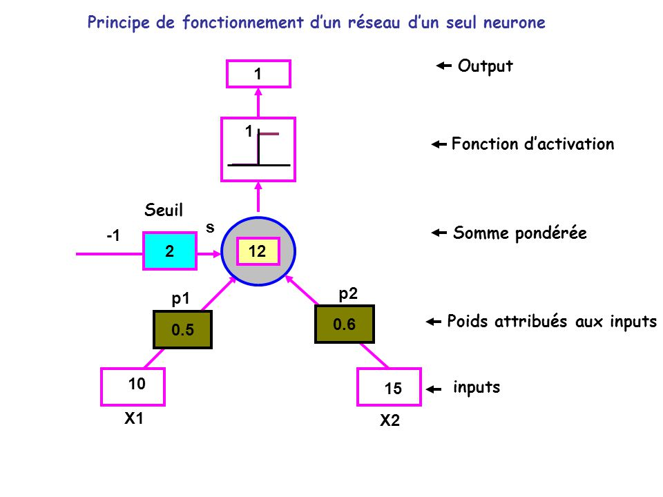 0.5 2 0.6 inputs Poids attribués aux inputs Somme pondérée Fonction dactivation Output p1 p2 X1 X2 10 15 1 12 1 s Seuil Principe de fonctionnement dun