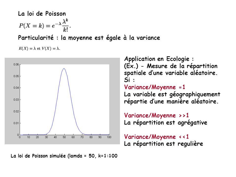 La loi de Poisson Particularité : la moyenne est égale à la variance La loi de Poisson simulée (lamda = 50, k=1:100 Application en Ecologie : (Ex.) - Mesure de la répartition spatiale dune variable aléatoire.