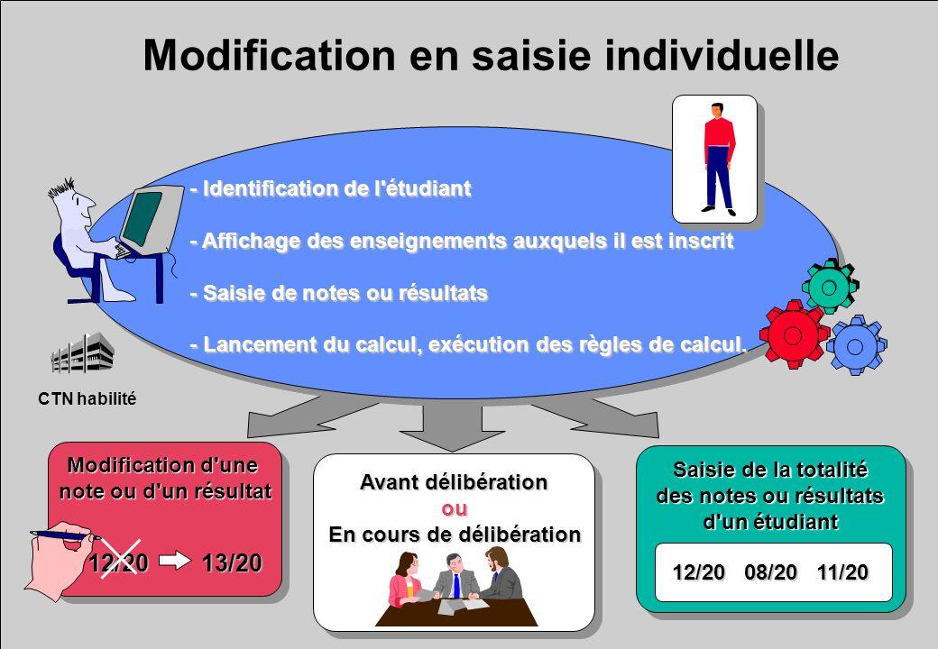Modification en saisie individuelle - Identification de l'étudiant - Affichage des enseignements auxquels il est inscrit - Saisie de notes ou résultat