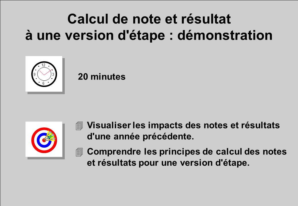 Calcul de note et résultat à une version d'étape : démonstration 12 6 3 9 20 minutes 4Visualiser les impacts des notes et résultats d'une année précéd