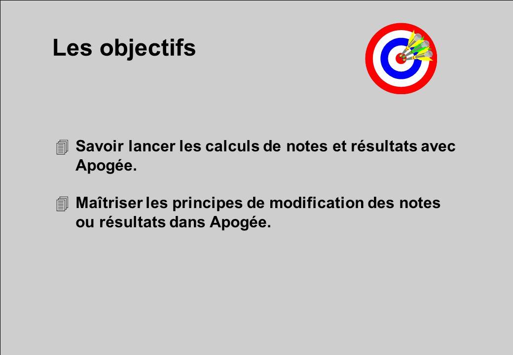 Les objectifs 4Savoir lancer les calculs de notes et résultats avec Apogée. 4Maîtriser les principes de modification des notes ou résultats dans Apogé