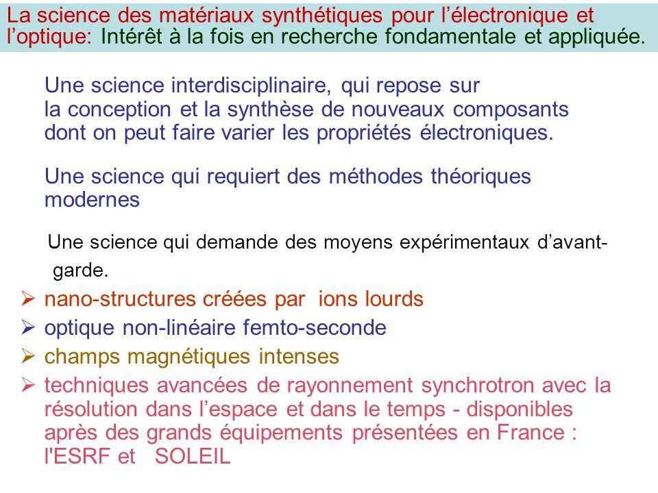 Une science interdisciplinaire, qui repose sur la conception et la synthèse de nouveaux composants dont on peut faire varier les propriétés électroniq