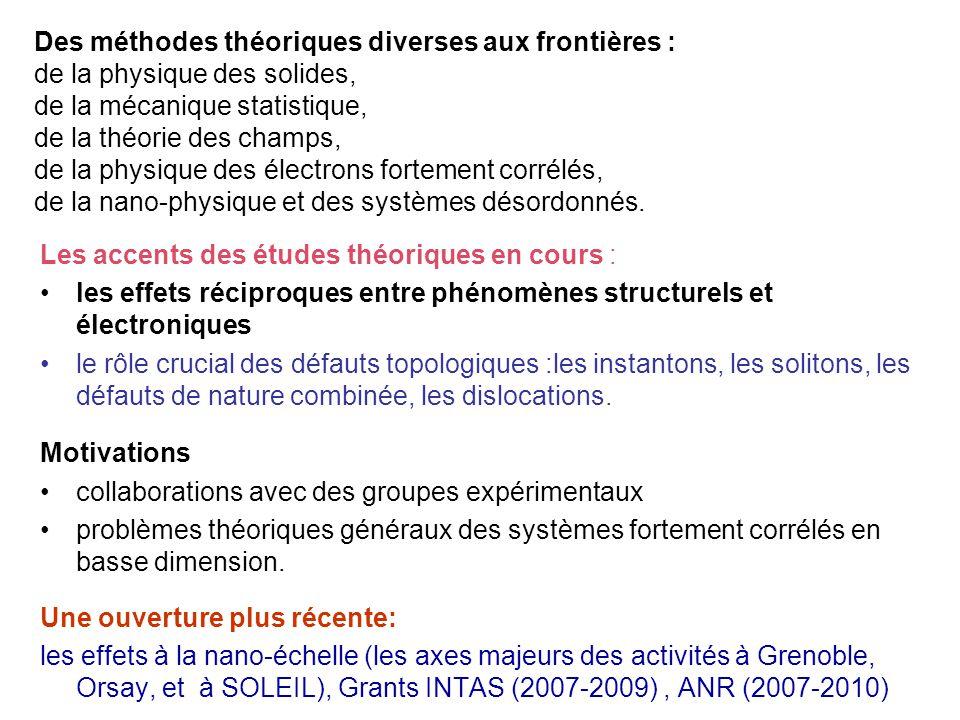 Les accents des études théoriques en cours : les effets réciproques entre phénomènes structurels et électroniques le rôle crucial des défauts topologi