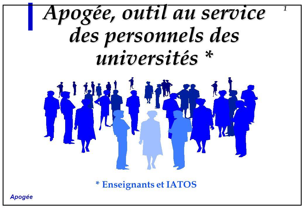 Apogée 1 Apogée, outil au service des personnels des universités * * Enseignants et IATOS