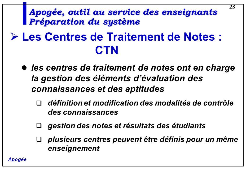 Apogée 23 Les Centres de Traitement de Notes : CTN les centres de traitement de notes ont en charge la gestion des éléments dévaluation des connaissan