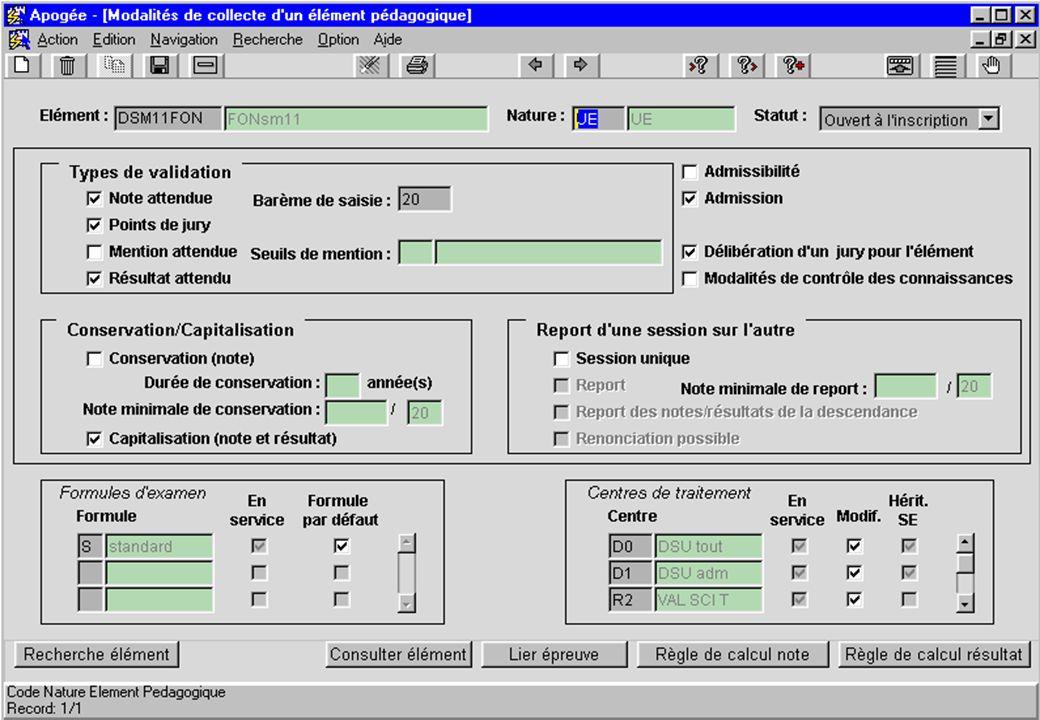 Apogée 31 écran modalités de collecte d un élément pédagogique