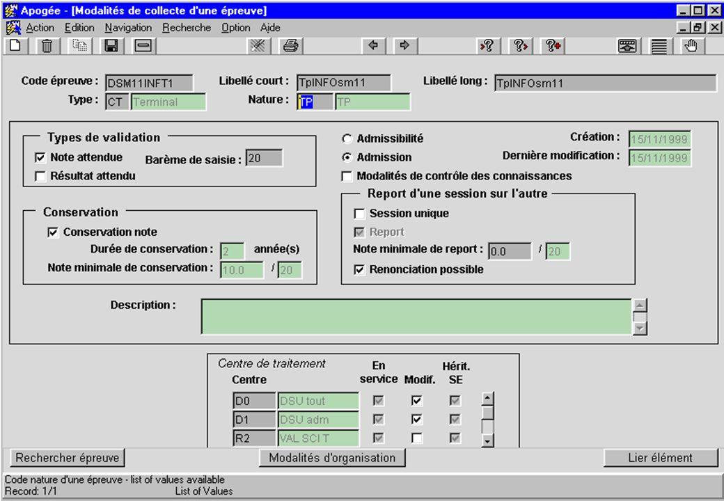 Apogée 34 écran Modalités de collecte d une épreuve