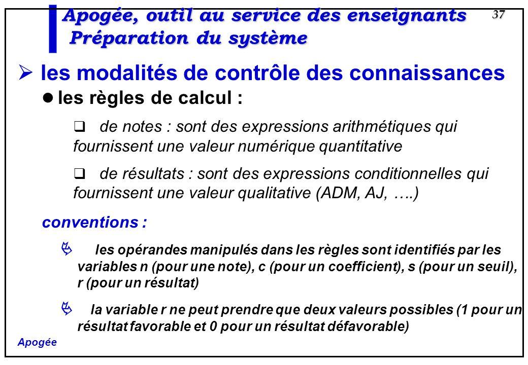Apogée 37 Apogée, outil au service des enseignants Préparation du système les modalités de contrôle des connaissances les règles de calcul : de notes