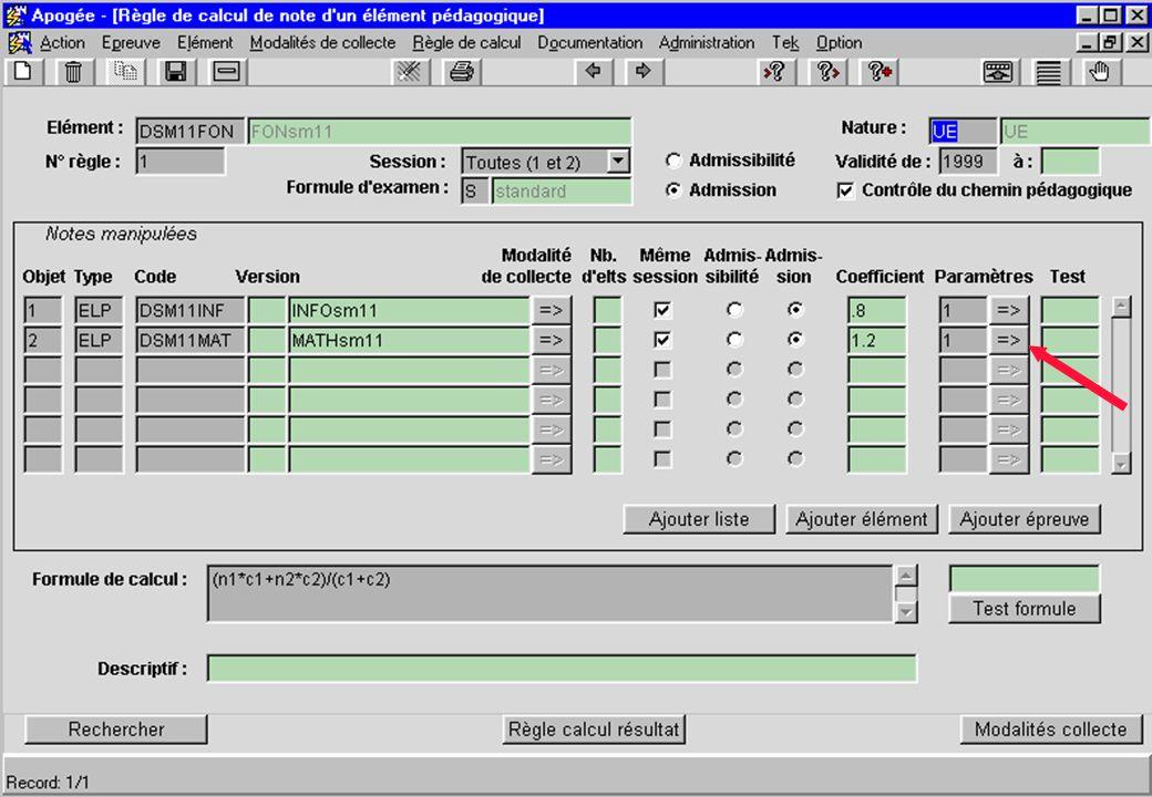 Apogée 38 écran Règle de calcul de note