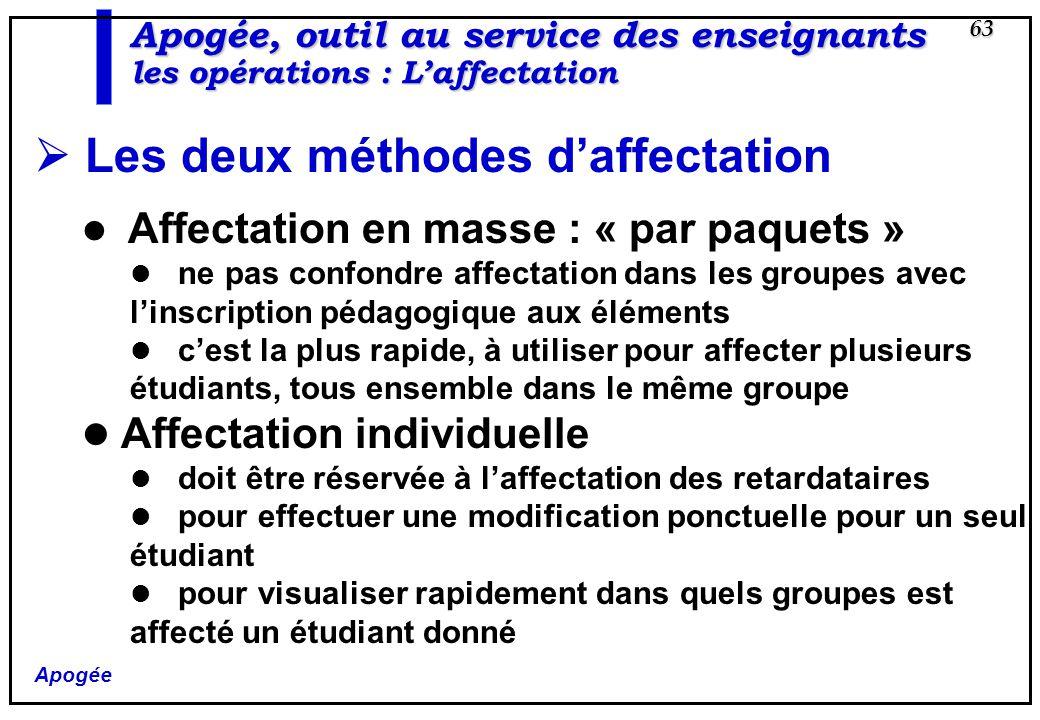 Apogée 63 Apogée, outil au service des enseignants les opérations : Laffectation Les deux méthodes daffectation Affectation en masse : « par paquets »