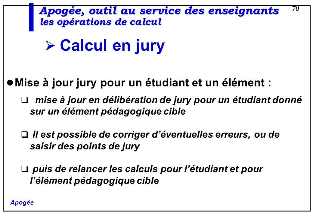 Apogée 70 Apogée, outil au service des enseignants les opérations de calcul Calcul en jury Mise à jour jury pour un étudiant et un élément : mise à jo