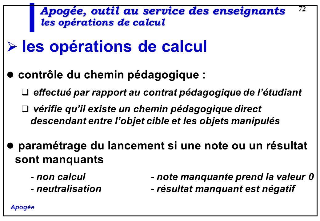 Apogée 72 Apogée, outil au service des enseignants les opérations de calcul les opérations de calcul contrôle du chemin pédagogique : effectué par rap