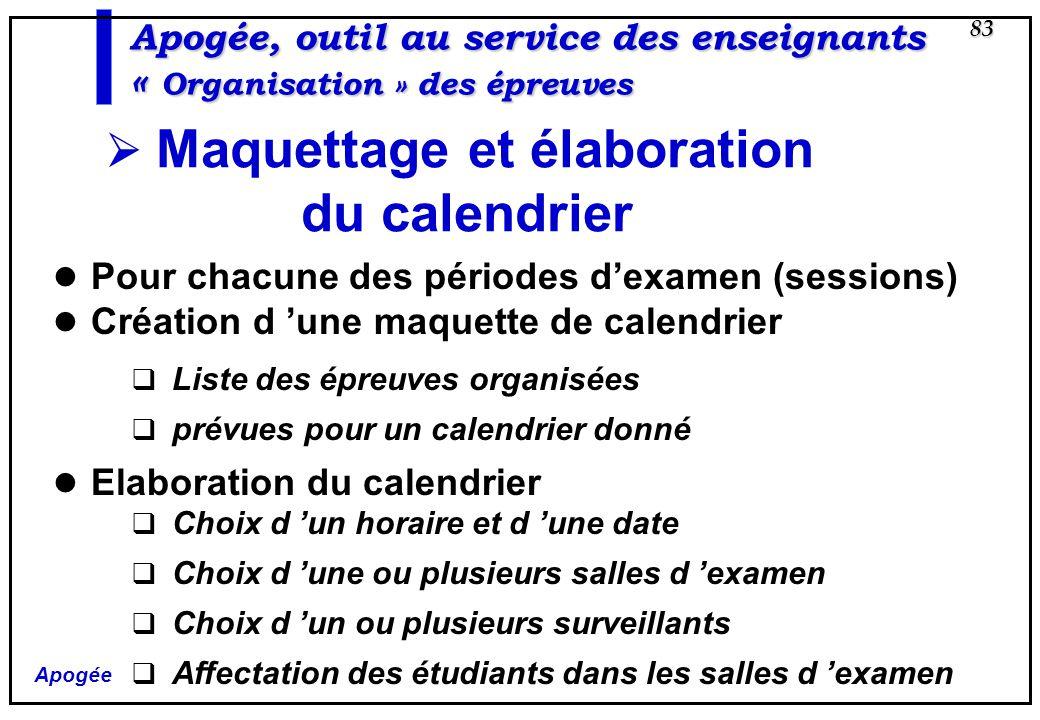 Apogée 83 Apogée, outil au service des enseignants « Organisation » des épreuves Maquettage et élaboration du calendrier Pour chacune des périodes dex