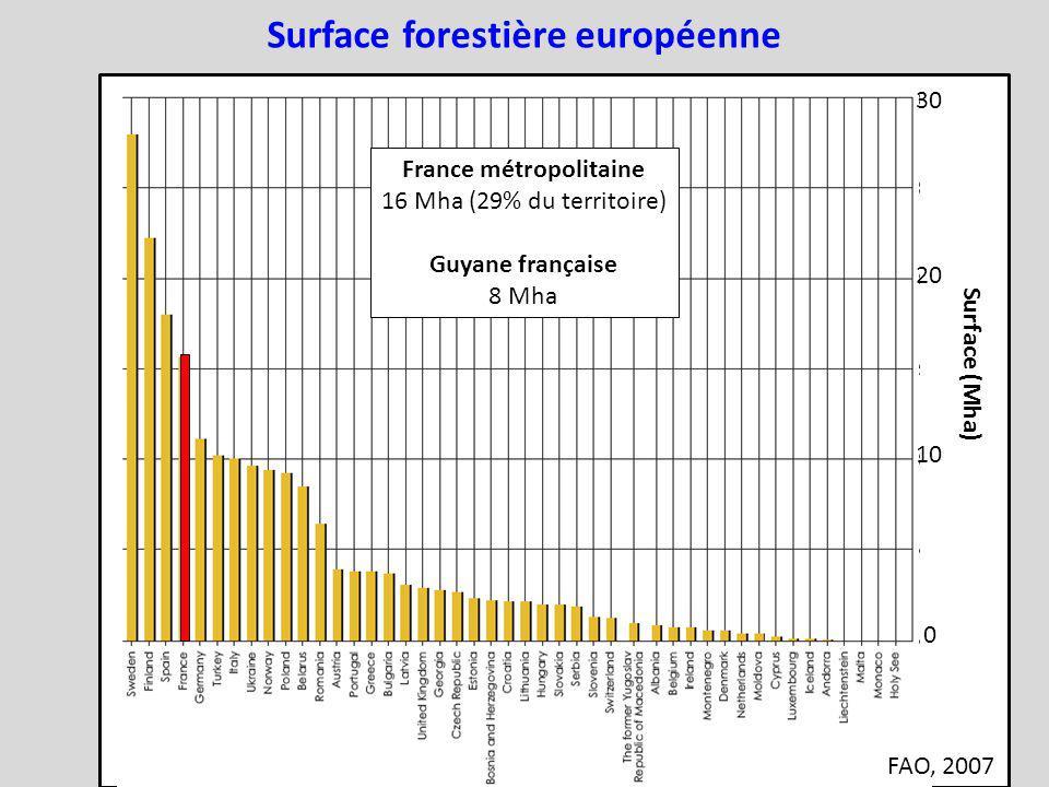 30 20 10 0 Surface (Mha) France métropolitaine 16 Mha (29% du territoire) Guyane française 8 Mha Surface forestière européenne FAO, 2007