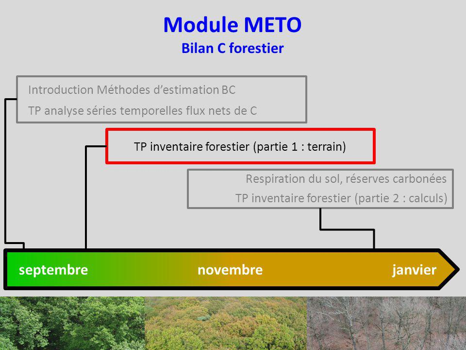Module METO Bilan C forestier Introduction Méthodes destimation BC TP analyse séries temporelles flux nets de C Respiration du sol, réserves carbonées