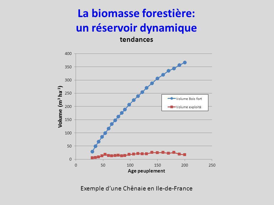 La biomasse forestière: un réservoir dynamique tendances Exemple dune Chênaie en Ile-de-France