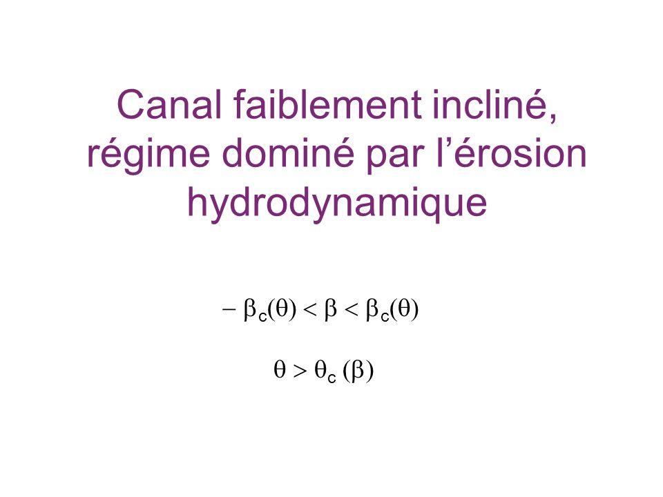 Canal faiblement incliné, régime dominé par lérosion hydrodynamique c c c