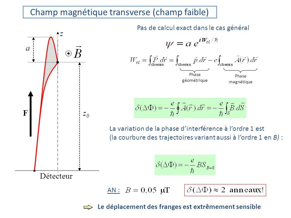Pas de calcul exact dans le cas général AN : z a Fz 0 Détecteur Phase géométrique Phase magnétique La variation de la phase dinterférence à lordre 1 est (la courbure des trajectoires variant aussi à lordre 1 en B) : Champ magnétique transverse (champ faible) Le déplacement des franges est extrêmement sensible