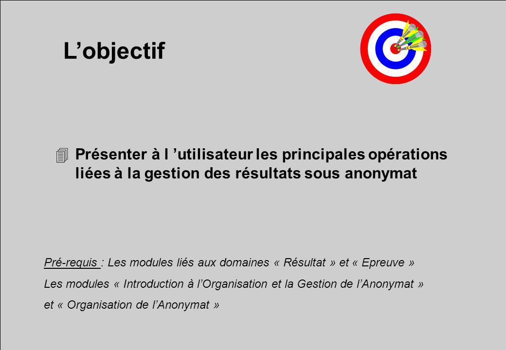 Lobjectif 4Présenter à l utilisateur les principales opérations liées à la gestion des résultats sous anonymat Pré-requis : Les modules liés aux domai