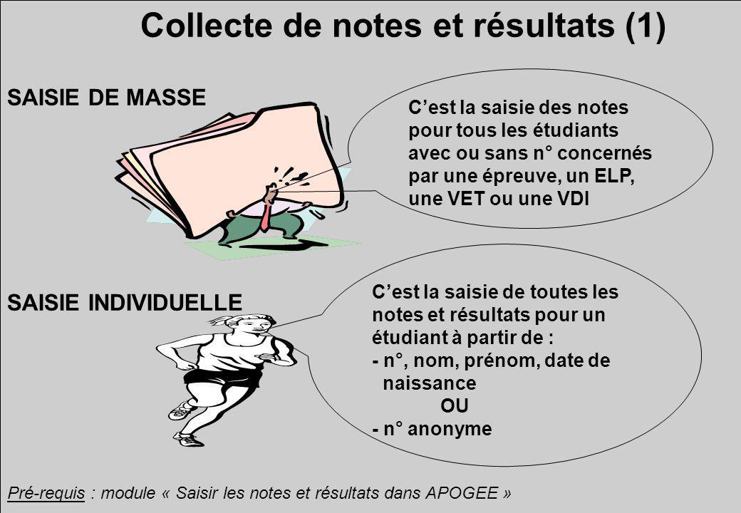 Collecte de notes et résultats (1) SAISIE INDIVIDUELLE SAISIE DE MASSE Cest la saisie des notes pour tous les étudiants avec ou sans n° concernés par