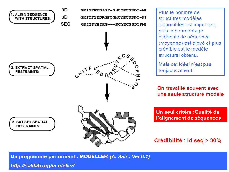 Plus le nombre de structures modèles disponibles est important, plus le pourcentage didentité de séquence (moyenne) est élevé et plus crédible est le modèle structural obtenu.