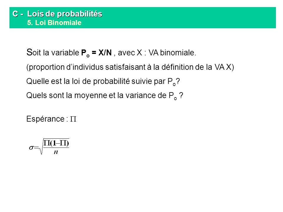 C - Lois de probabilités C - Lois de probabilités 5. Loi Binomiale S oit la variable P o = X/N, avec X : VA binomiale. (proportion dindividus satisfai