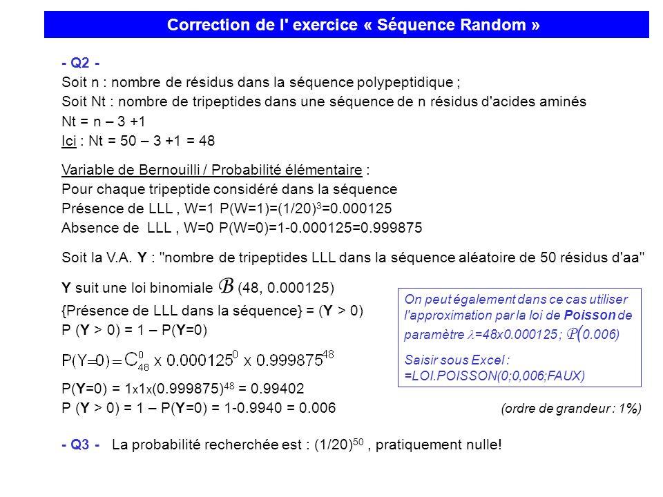 - Q2 - Soit n : nombre de résidus dans la séquence polypeptidique ; Soit Nt : nombre de tripeptides dans une séquence de n résidus d'acides aminés Nt