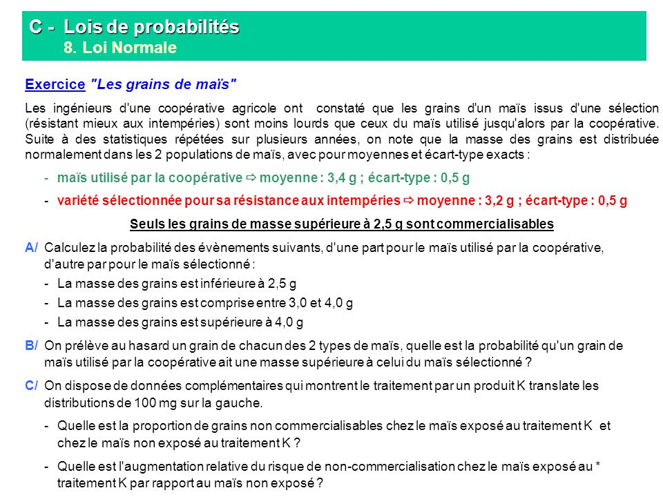 C - Lois de probabilités C - Lois de probabilités 8. Loi Normale Exercice