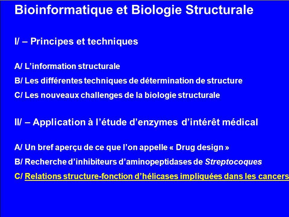 Bioinformatique et Biologie Structurale I/ – Principes et techniques A/ Linformation structurale B/ Les différentes techniques de détermination de str