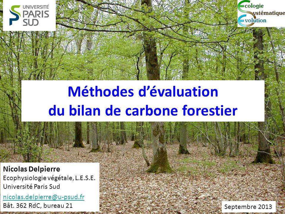 Méthodes dévaluation du bilan de carbone forestier Nicolas Delpierre Ecophysiologie végétale, L.E.S.E. Université Paris Sud nicolas.delpierre@u-psud.f