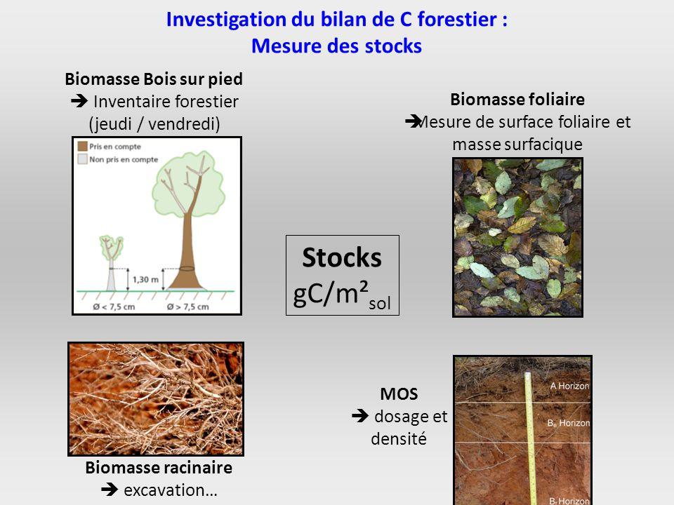 Investigation du bilan de C forestier : Mesure des stocks Biomasse Bois sur pied Inventaire forestier (jeudi / vendredi) Biomasse foliaire Mesure de s