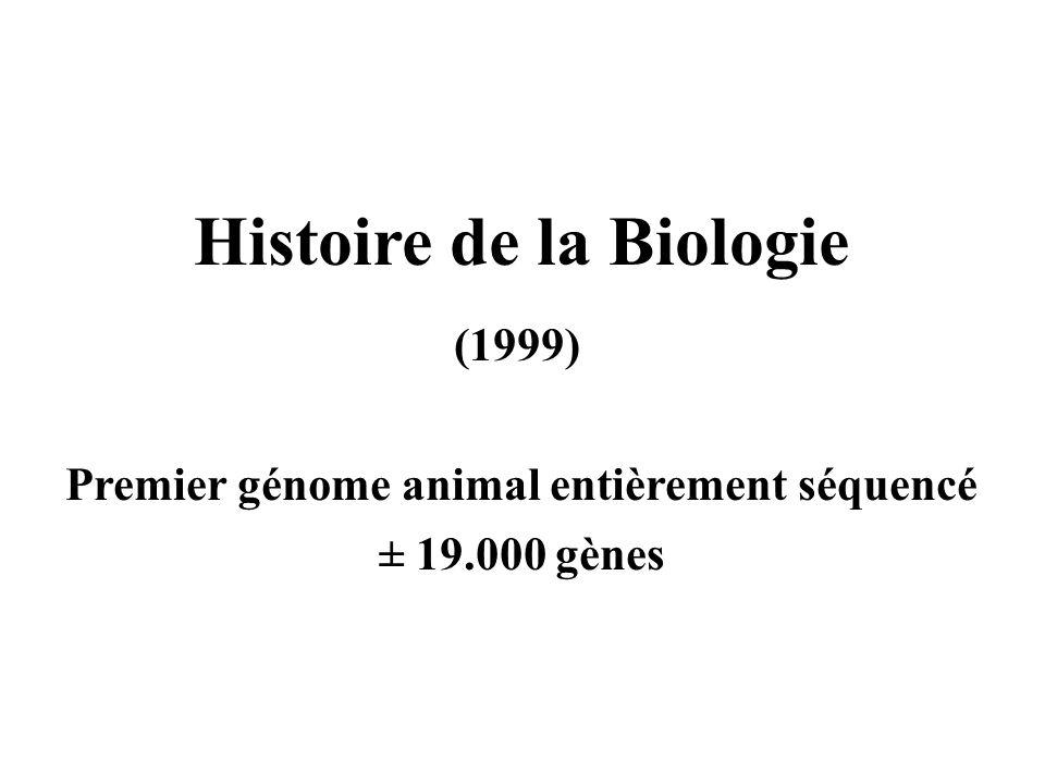 Histoire de la Biologie (1999) Premier génome animal entièrement séquencé ± 19.000 gènes