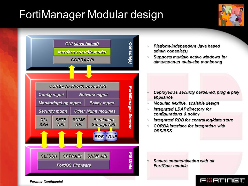 Fortinet Confidential FortiManager Modular design Deployed as security hardened, plug & play applianceDeployed as security hardened, plug & play appli