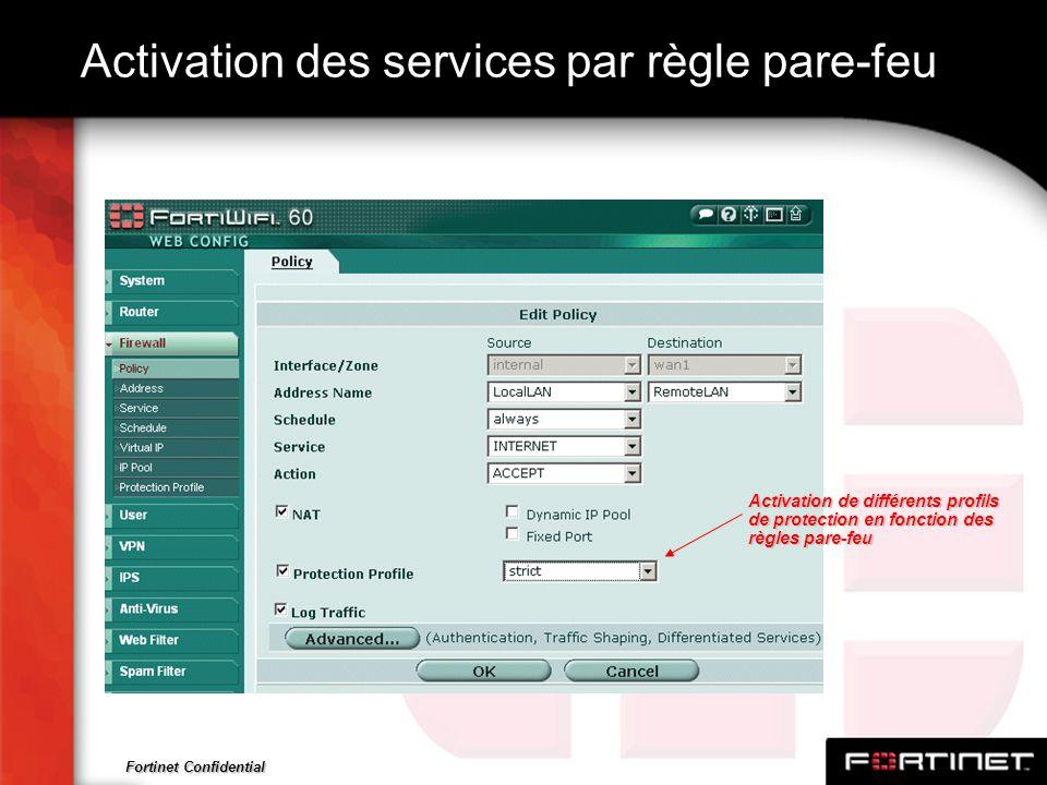 Fortinet Confidential Activation des services par règle pare-feu Activation de différents profils de protection en fonction des règles pare-feu