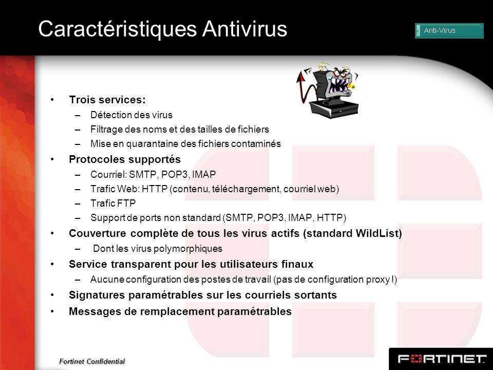 Fortinet Confidential Caractéristiques Antivirus Trois services: –Détection des virus –Filtrage des noms et des tailles de fichiers –Mise en quarantai