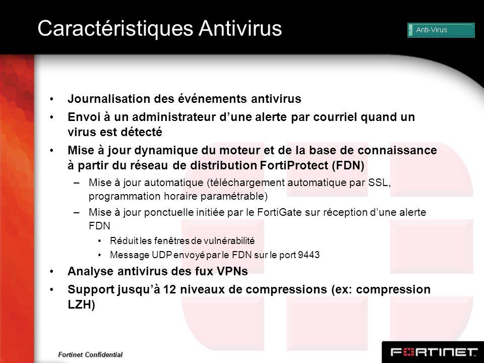 Fortinet Confidential Caractéristiques Antivirus Journalisation des événements antivirus Envoi à un administrateur dune alerte par courriel quand un v