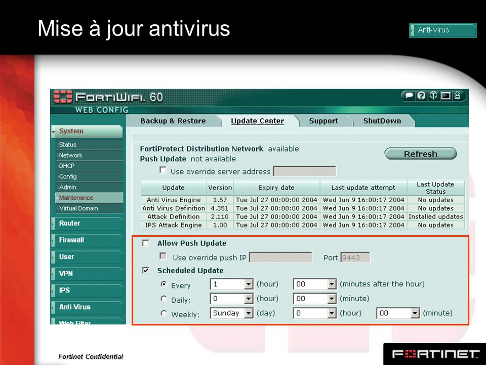 Fortinet Confidential Mise à jour antivirus