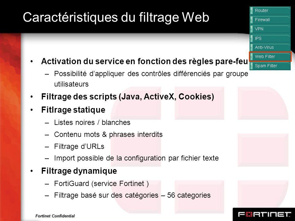 Fortinet Confidential Caractéristiques du filtrage Web Activation du service en fonction des règles pare-feu –Possibilité dappliquer des contrôles dif