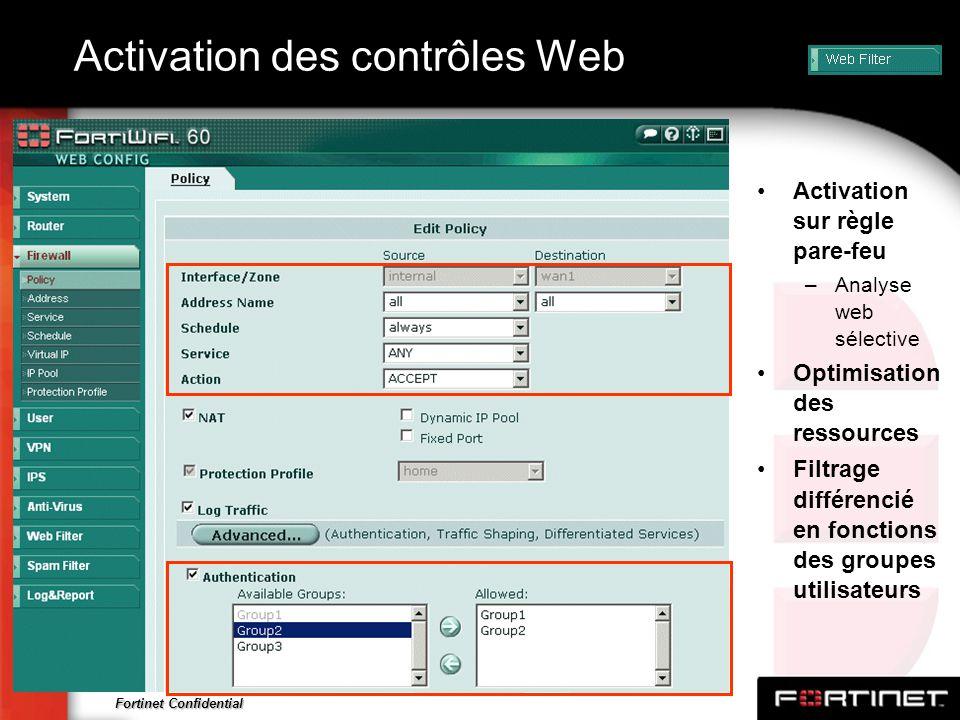 Fortinet Confidential Activation des contrôles Web Activation sur règle pare-feu –Analyse web sélective Optimisation des ressources Filtrage différenc