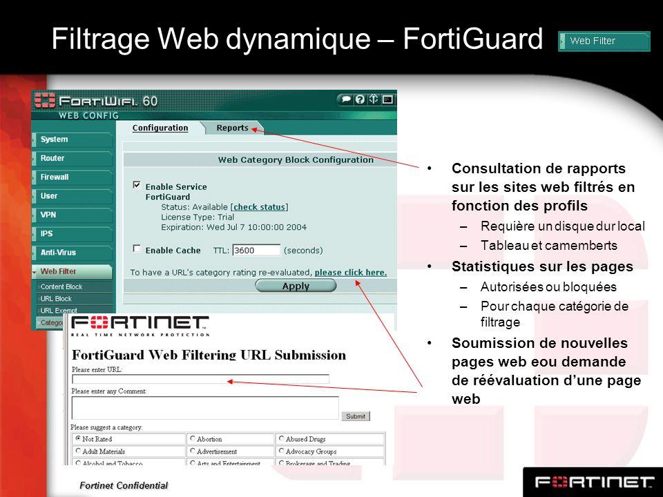 Fortinet Confidential Filtrage Web dynamique – FortiGuard Consultation de rapports sur les sites web filtrés en fonction des profils –Requière un disq
