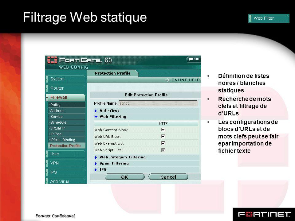 Fortinet Confidential Filtrage Web statique Définition de listes noires / blanches statiques Recherche de mots clefs et filtrage de dURLs Les configur