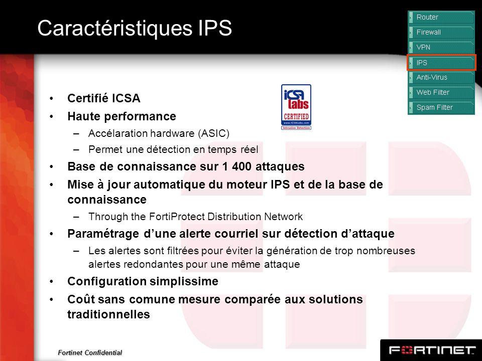 Fortinet Confidential Caractéristiques IPS Certifié ICSA Haute performance –Accélaration hardware (ASIC) –Permet une détection en temps réel Base de c