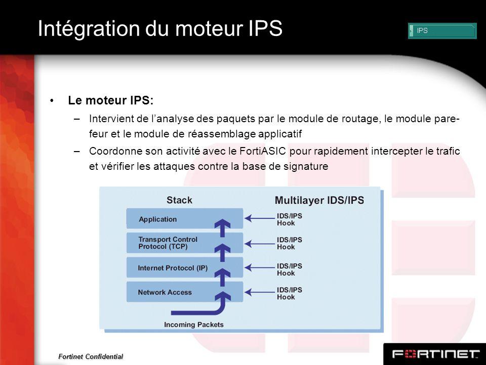 Fortinet Confidential Intégration du moteur IPS Le moteur IPS: –Intervient de lanalyse des paquets par le module de routage, le module pare- feur et l