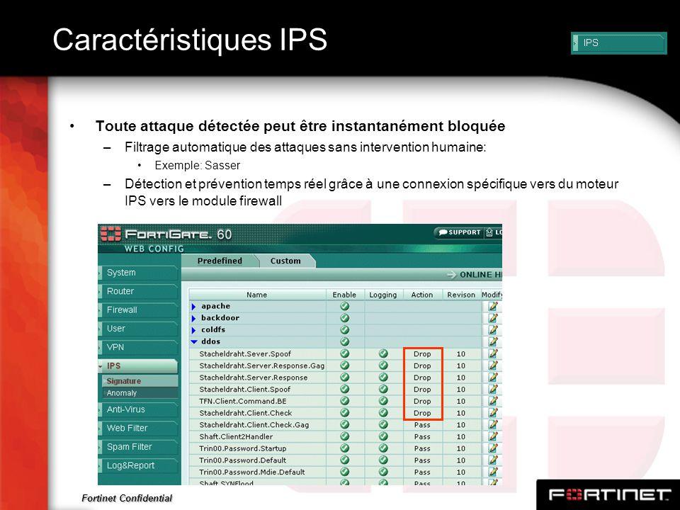 Fortinet Confidential Caractéristiques IPS Toute attaque détectée peut être instantanément bloquée –Filtrage automatique des attaques sans interventio